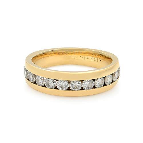 Rachel Koen 14k oro amarillo & Appx. 1 Cttw Diamonds - Alianza de boda para mujer (talla 6)