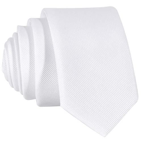 DonDon schmale weiße Krawatte 5 cm