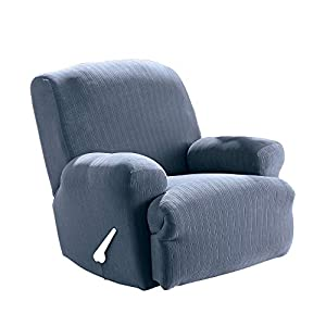 Surefit Home Décor Pinstripe Box Cushion Recliner Chair One Piece Slipcover, Stretch Form Fit, Polyester Spandex, Machine Washable, French Blue
