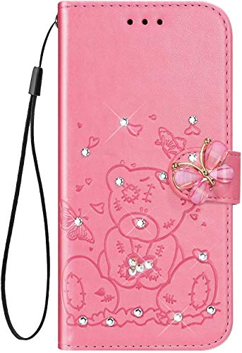 IKASEFU Compatible With Samsung Galaxy Note 8 Case Shiny Butterfly Rhinestone Emboss Cute Bear Pu Leather Bling Diamond Crystal Wallet Strap Case With Card Holder Magnetic Flip Cover Case Pink