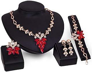مجموعة مجوهرات من خليط معدني للنساء مكونة من 4 قطع قلادة واقراط وخاتم وسوار مناسبة للحفلات والمادب والرحلات