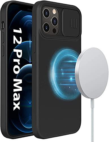 Nillkin Magnetisch Silikon Hülle kompatibel mit iPhone 12 Pro Max Hülle, Liquid Silikon Hülle mit Kameraschutz kompatibel mit Magsafe Charger Schutzhülle Handyhülle für iPhone 12 Pro Max (Schwarz)