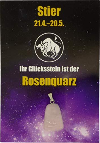 Edelstein-Sternzeichenanhänger | Glücksstein für die Sternzeichen mit Infokärtchen (Stier - Rosenquarz)