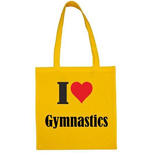 Tasche I Love Gymnastics Größe 38x42 Farbe Gelb Druck Schwarz