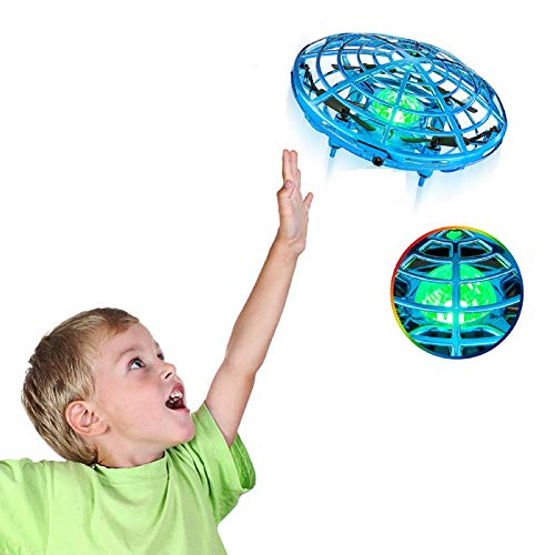 Drones for Kids, Hand Operated Drones Mini Drones,Mini UFO Drone with LED Light,360 Degree Rotating Indoor Drone for Kids Flying Ball Drone Toys for Boys and Girls(Navy Blue)