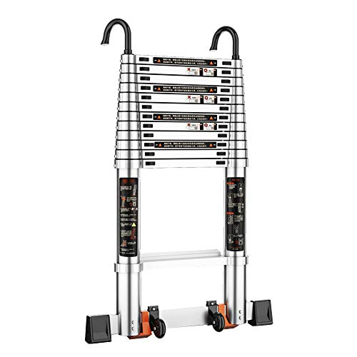 BLWX LY-Step kruk Telescopische Ladder met haak Rechte Ladder Draagbare Lift Aluminium Ladder Lading 150kg/330lb voor Indoor Outdoor Engineering Bouw