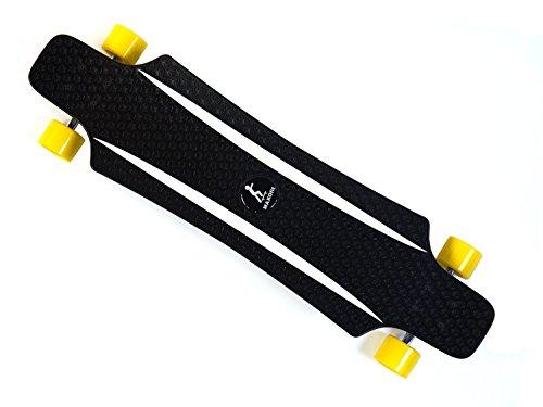 MAXOfit® Tabla Larga - Longboard XP 5.0 (Amarillo/Blanco), 92 cm, de Materia plástica Muy Robusto, la última Tendencia, 64685