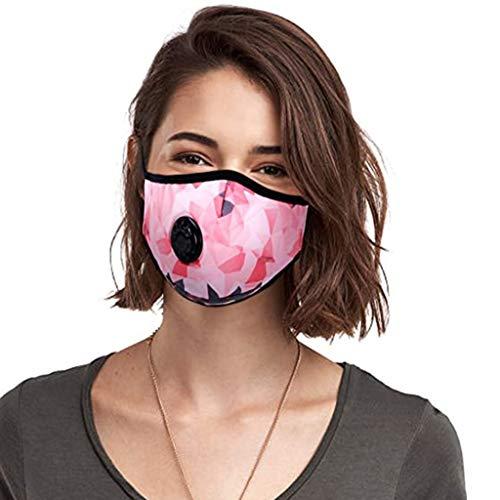 N/B Protección Facial Poliéster con 2 Filtración de Carbón, Aumente su Rendimiento en el Deporte (Rosa)