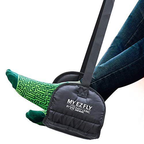 My EZ Fly Desk Foot Hammock - Comfortable Foot Hammock Made with Thick Memory Foam and Stable Base to Relax Your Legs. Great Office and Travel Accessory