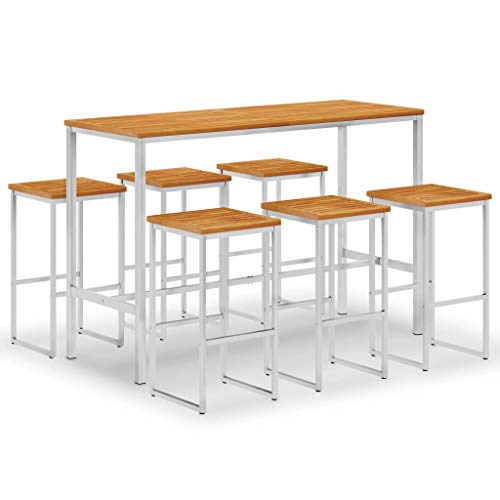 Festnight 7 Piece Bar Set/Bar Stools Set Solid Acacia Wood and Stainless Steel for Kitchen, Garden or Patio