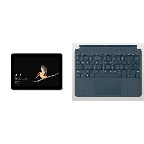 Microsoft Surface Go Tablet, Processore Pentium, 8 GB di RAM, SSD da 128 GB, Grigio + Microsoft Surface Cover con Tasti in Alcantara per Surface Go, Blu [Layout Italiano]