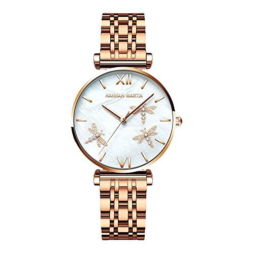 SADWF Relojes para Mujer, Reloj de Pulsera de Cuarzo Analógico, Correa de Acero Inoxidable, Reloj de Negocios Resistente Al Agua, Relojes de Vestir Elegantes para Mujeres y Niñas (Color : Rose Gold)