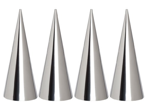 Mrs. Anderson's Baking Cream Horn Pastry Roll Molds, Stainless Steel, Set of 4, Measures 4.375-Inches Tall
