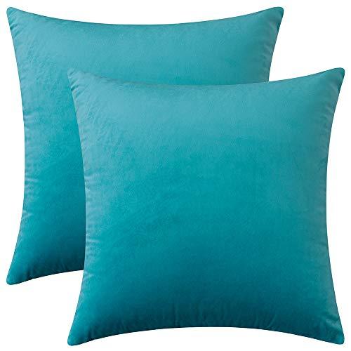Rythome Set mit 2 bequemen Samt-Kissenbezügen, dekorativ, solide Kissenbezüge für Sofa, Couch und Bett, 35,6 x 35,6 cm, dunkles Türkis