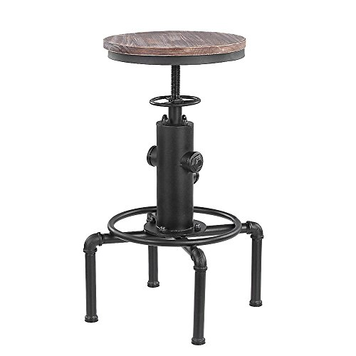 IKAYAA Swivel Industrial Bar Stool Adjustable Height Pinewood Top Kitchen Dining Chair with Footrest