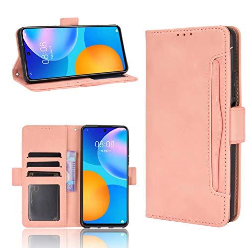 ANWEN para Funda Huawei P Smart 2021,Ranura para Tarjetas y Efectivo 2 en 1 Desmontable, Billetera de Cuero PU con Solapa de Cierre con Soporte, Adecuada para Huawei P Smart 2021-Rosado