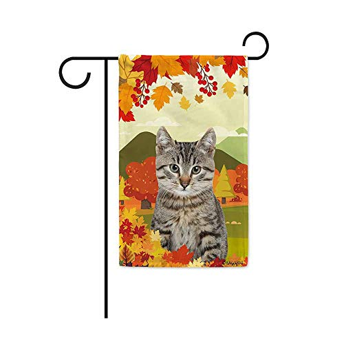 BAGEYOU Hello Fall in The Countryside with My Love Dog Cat Decorative Garden Flag Autumn Maple Leaf Banner for Outside 12.5X18 Inch Printed Double Sided