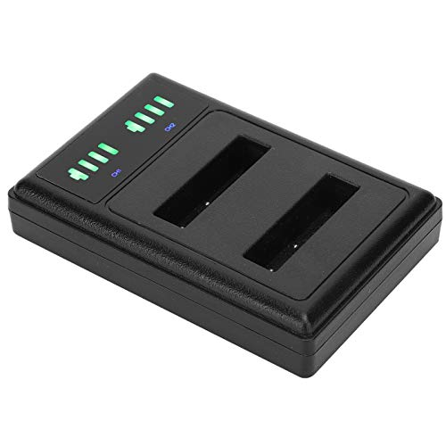 Jingyig Cargador de batería para cámara, Cargador de batería de Doble Puerto, Interfaz de Entrada Tipo C de 10 W de Doble Carga con Pantalla LCD Interfaz USB para Cargar la cámara