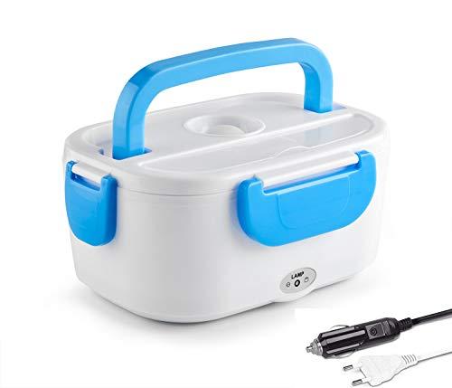 Self Ideas - Fiambrera eléctrica con Capacidad de 1 litro. Calentador de Comida eléctrico con Adaptador para Coche y Toma Corriente. Fiambrera térmica con 2 compartimientos Interiores. (Azul)