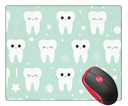 Mouse Pad Square Gaming Mouse Mat Cute Teeth Dental Pattern, Non-Slip Rubber Base Mousepad Mousemat for Laptop Computer PC Office Home