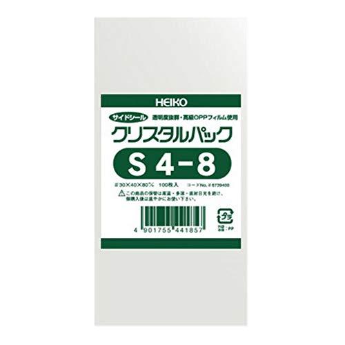 HEIKO OPP袋 クリスタルパック S4-8 (サイドシール) 100枚/62-0992-89