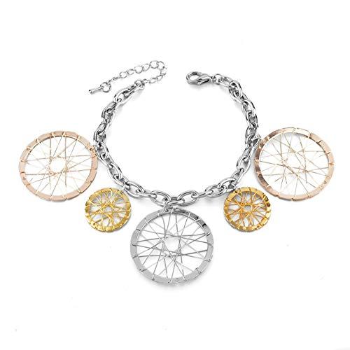 HUSHOUZHUO Runde Anhänger Gold Frauen Armband Böhmischen Rollstuhl Armband Weiblichen Gliederkette Schmuck