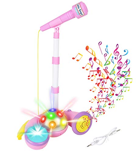 Toddler Microphone Kids Toy Singing Karaoke Microphone with Stand and LED Lights Disco Ball MP3/AUX