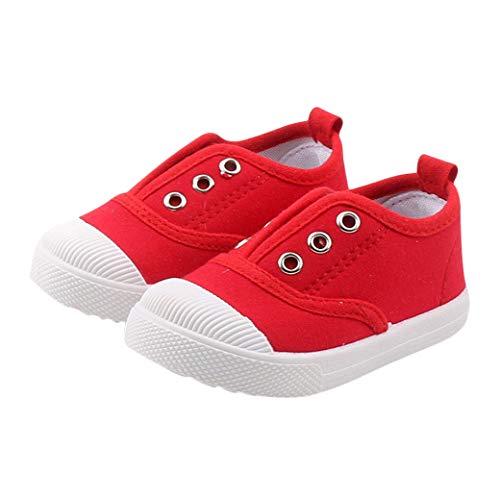 DEBAIJIA Niñas Niños Zapatos 2-5 Años Zapatillas de Deporte Lona Dulce Casual Suave Doble Suela de Moda Antideslizantes Transpirables Ligeros EU 25 Rojo(Tamaño Etiqueta 25)