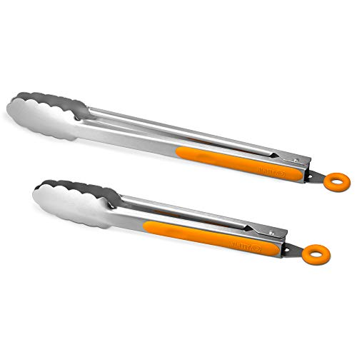 304 Stainless Steel Kitchen Cooking Tongs, 9' and 12' Set of 2 Sturdy Grilling Barbeque Brushed Locking Food Tongs with Ergonomic Grip, Orange