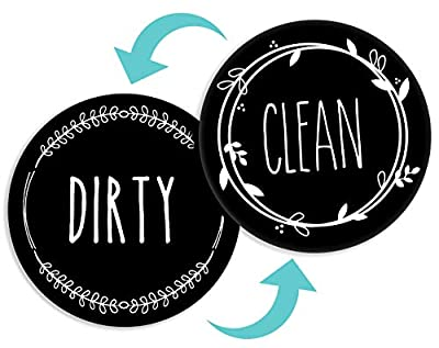 BabyPop! Dishwasher Magnet Clean Dirty Sign Indicator, TRENDY universal double sided kitchen dish washer magnet, BONUS magnetic plate for kitchen organization and storage by BabyPop! (Jet Black)