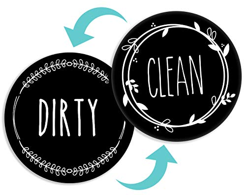 BabyPop! Dishwasher Magnet Clean Dirty Sign, TRENDY universal double sided kitchen dish washer refrigerator magnet, BONUS magnetic plate for kitchen organization and storage by BabyPop! (Jet Black)