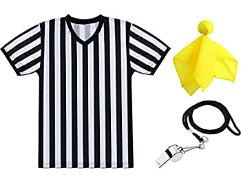 SATINIOR Men s Official Uniform Black and White Stripe Pro-Style V-Neck Referee Shirt Officiating Umpire Jersey and Stainless Steel Whistle with Lanyard for Basketball Football Soccer  XXXL