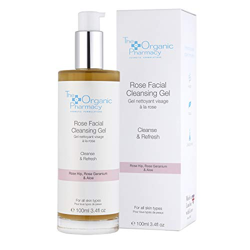 The Organic Pharmacy Rose Facial Cleansing Gel Reduces Redness, Clear Up Acne, Balance Oil Production, and Protect from Environmental Damage, Normal to Sensitive Skin, Combination Skin, 3.4 Ounces