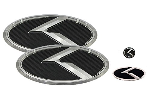 3D K Logo Emblem Carbon Fiber & Chrome Edition Set 4pc Front + Rear + Steering Wheel + Mini Sticker (Fit: KIA 2011-2020 Optima K5)