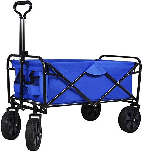 SUNCOO Folding Push Wagon Cart, Collapsible Outdoor Utility Camping Grocery Wagon, Sturdy Portable Rolling Lightweight Patio Garden Cart for Outdoor Beach, Sports, Shopping, Picnic, Gardening, Blue