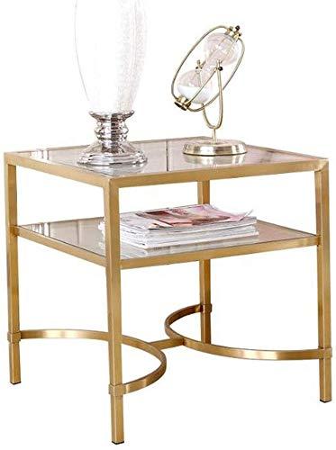 Mesa de sofá, mesitas auxiliares, mesa de sofá de 2 niveles de acero inoxidable, sala de estar, oficina, mesita de noche, mesa de lectura pequeña cuadrada, mesa de café de vidrio, mesa de centro