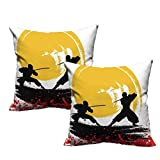 """Two Piece Square Cushion Case Watercolor Style Silhouette Ninjas in The Moonlight Medieval 18""""x18"""",Multi Color Bright"""