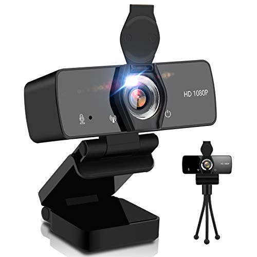 Adhop - Webcam HD 1080P con microfono, per streaming webcam per PC/desktop, USB Plug & Play, per videochiamate, conferenze, compatibile con Windows/Linux/Mac OS/Android (con copertura e treppiede)