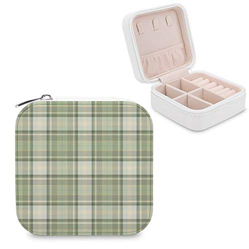 Small Jewellery Box, Mini Size Travel Jewelry Storage Case with Faux PU Lidded Light Weight, Rings,Earring,Necklace Organiser with Various Compartments/Tartan Plaid Beige Material Property Pattern