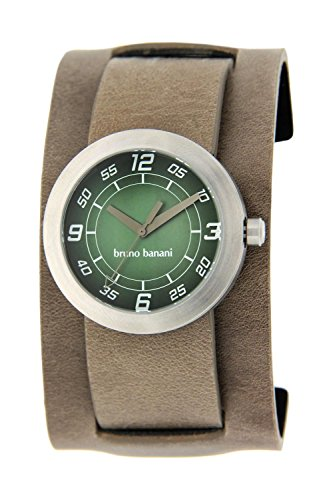 Bruno Banani Herrenuhr IRO graugrün Lederband BC3 145 345