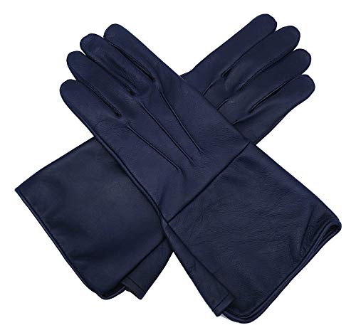 Medieval Gauntlet leather cosplay gloves long arm cuff (Navy Blue, Large)
