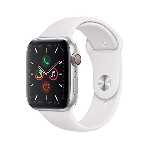 Apple Watch Series 5 (GPS+Cellular, 44 mm) Cassa in Alluminio, Argento e Cinturino Sport - Bianco