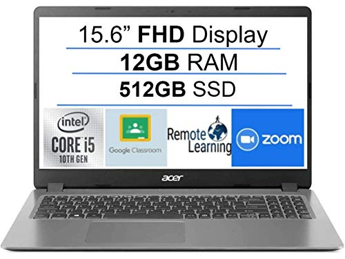 Newest Acer Aspire 3 15.6' FHD 1080P Laptop Computer, 10th Gen Intel Quad-Core i5 1035G1 (Beats i7-7500u), 12GB DDR4 RAM, 512GB SSD, Webcam, HDMI, WiFi, Bluetooth, Windows 10, AllyFlex Mousepad