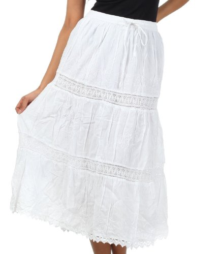 AA254 - Solid Embroidered Gypsy/Bohemian Full/Maxi/Long Cotton Skirt - White/One Size