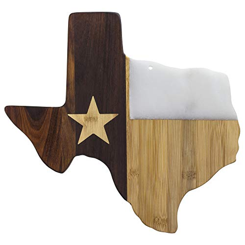 """Totally Bamboo Rock & Branch Series Republic of Texas State Shaped Serving Board, 14"""" x 13-3/8"""""""