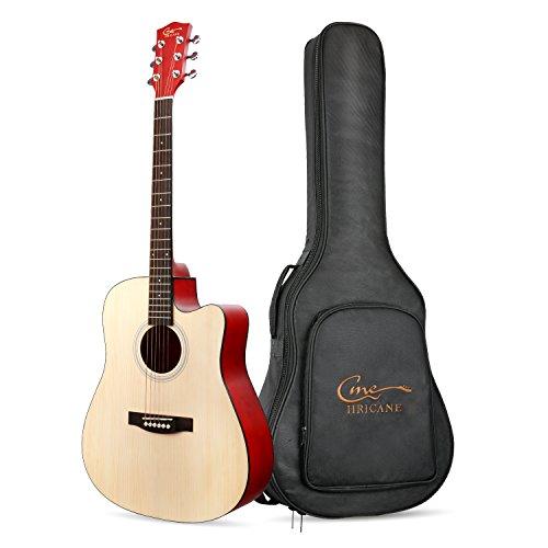 Guitarra Acústica, Hricane Guitarra Clásica 41 Pulgadas Acabado Mate con Cuerda de Metal, Bolsillo Exterior y Cuerdas de Repuesto para llevar fácil (Dreadnought,Color Natural) …