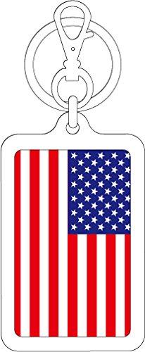 K-SK207 アメリカ U.S.A. 100円国旗ステッカー キーホルダー (WHITE)