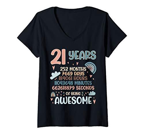 Damen 21 Years Old 21th Birthday 252 Month T-Shirt mit V-Ausschnitt