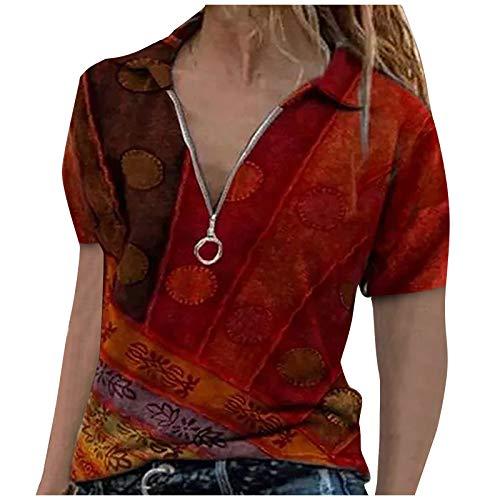 Kurzarm T-Shirt Tops Rundhalsausschnitt Langarmshirt Revers Frauen Patchwork Lässige Pullover Retro Drucken Lose Sweatshirt Oberteile Bluse (C-Rot, M)