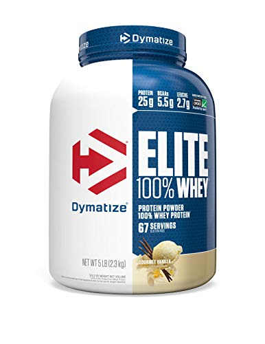 Dymatize Elite 100% Whey Protein Powder, 25g Protein, 5.5g BCAAs & 2.7g L-Leucine, Quick Absorbing & Fast Digesting for Optimal Muscle Recovery, Gourmet Vanilla, 5 Pound